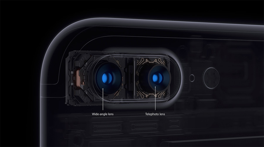 Rendered cutaway of the iPhone 7 Plus upper rear showing both camera modules.